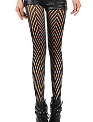 Women's Black Arrow Patterned Jacquard Tights Pantyhose