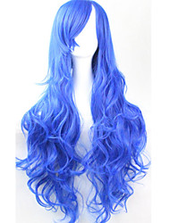 cos anime brilhante perucas coloridas longo encaracolado safira peruca de cabelo 80 centímetros