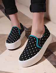 Women's Shoes Canvas Flat Heel Creepers/Round Toe Fashion Sneakers/Loafers Casual Black/ light Blue/Dark Blue