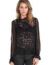 Women's Crochet Lace Patchwork Elastic Cuffs Blouse