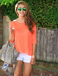 Women's Casual/Daily Simple / Street chic Summer Blouse,Solid Round Neck ¾ Sleeve Orange Thin