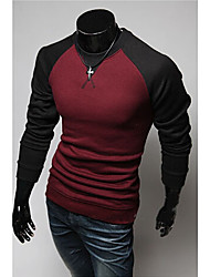 Men's Round T-Shirts , Cotton Blend Long Sleeve Casual Hollow Out All Seasons HI MAN