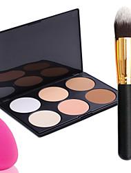 pro parti 6 couleurs face à poudre bronzante palette de maquillage + pinceau à poudre + Power Puff