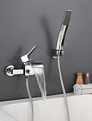 Wall Mounted Chromed Contempo Roman Bathroom Waterfall Faucet With Hand Shower