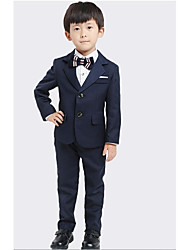 DarkNavy Uniform Cloth Ring Bearer Suit - 4 Pieces Includes  Jacket / Shirt / Pants / Bow Tie