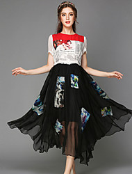 Heavy summer yards dress The fat lady printed color patch posed long dress with short sleeves