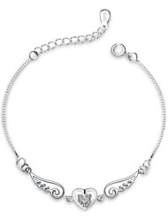 Jazlyn Authentic Platinum Plated 925 Sterling Silver Woman Angel Wings Heart Cubic Zirconia Link Chain Bracelet