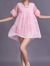 Women's Sweet Loose Beaded Ruffle Flare Sleeve Dress