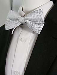 Men's White Black Geometrical Bow Tie Pre-tied Dress Wedding Blend Ajustable SilkBlend Weddin