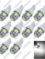 10X Pure White 6000K T10 W5W 5 SMD 5050 LED Car Clearance Lamp Side Light DC12V A007