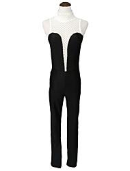 Women's Hollow Out Patchwork Zipper Back Jumpsuit