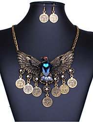 Vintage Style Zinc Alloy And Rhinestone Eagle Pattern Jewelery Set(Earrings & Necklace)