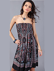 Women's Bohemia Print Beach Tube Top Dress