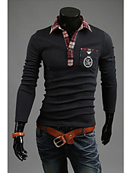 Men's Shirt Collar T-Shirts , Cotton Blend Long Sleeve Casual Embroidery All Seasons WHAT LEES