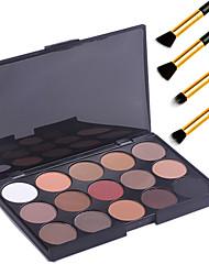 15 colores de maquillaje profesional cálida sombra de ojos desnuda mate paleta de brillo cosmético + 4pcs lápiz pincel de maquillaje