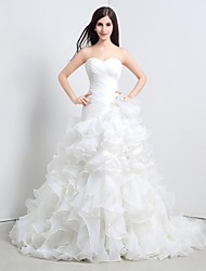 Princess Wedding Dress Vintage Inspired Cathedral Train Sweetheart Organza with Cascading Ruffle