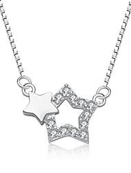 jazlyn® platina autêntica banhado a 925 libras esterlinas mulheres prata estrelas 1 milímetro cúbico ligação zircônia colar de corrente 18