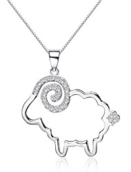 Jazlyn® Authentic Platinum Plated 925 Sterling Silver Little Sheep Cubic Zirconia Box Chain Women's Necklace for Gift