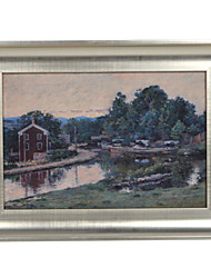 Theodore Robinson,Evening at the Lock, Napanoch, New York Framed Canvas Print