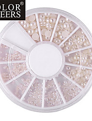 Mixed-Size Halve cirkel White Pearl Nail Art Decorations