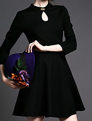 Women's Vintage/Casual/Party/Work Micro-elastic ¾ Sleeve Above Knee Dress (Cotton)