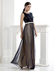Formal Evening Dress - Dark Navy Plus Sizes / Petite Sheath/Column Scoop Floor-length Chiffon / Lace