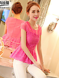 Women's Pink/White Blouse , Round Neck Short Sleeve