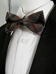Men's Dark Khaki Caramel Checked Bow Tie Pre-tied Dress Wedding Blend Ajustable SilkBlend Wedding