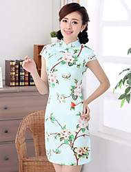 Women's Vintage/Casual Stretchy Short Sleeve Above Knee Chinese Style Dress