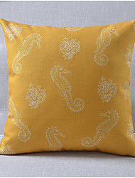Modern Style Sea Horse Pattern Cotton/Linen Decorative Pillow Cover