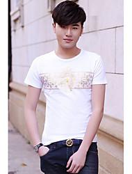 Men's Korea Fashion Foil Print Mens T-shirt