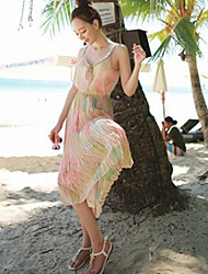 Women's Sexy Party Micro Elastic Sleeveless Midi Dress (Chiffon)