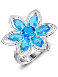 Holiday Gift Classic Fire Blue Topaz Gem 925 Silver Statement Flower Rings For Wedding Party Daily Casual 1pc