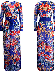 Women's Sexy Beach Casual Night Club Party Print Maxi Dress with Belt