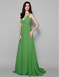 Sweep/Brush Train Georgette Bridesmaid Dress - Clover A-line V-neck