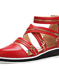 Women's Shoes Leather Wedge Heel Gladiator/Comfort/Pointed Toe/Closed Toe Sandals Outdoor/Office & Career