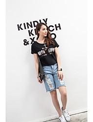 Women's Round T-Shirts , Cotton Beach/Casual/Cute/Party Short Sleeve ANWENXI
