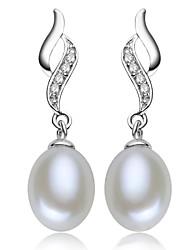 plaqué z & x® 925 élégante perle d'eau douce boucles d'oreilles mariage / fête / jour