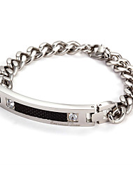 Women's Stainless Steel Chain With Cubic Zirconia Bracelet