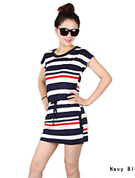 Summer Style New Bestsellers Fashion Women Striped Slim Elastic Casual Dress Crew Neck Comfy Short Sleeve Dress