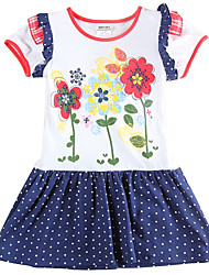 Girl's Polka Dot Skirt Flower Embroidery Children Dresses(Random Printed)