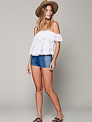 Women's Solid White T-shirt , Strapless Short Sleeve Lace