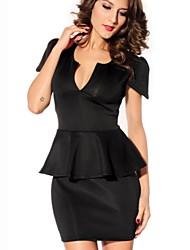Women's Sexy/Bodycon V-Neck Short Sleeve Dresses (Polyester)