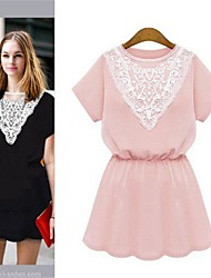 Elaine Women's Sexy/Casual Round Short Sleeve Dresses (Lace)