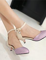 Scarpe Donna - Scarpe col tacco - Formale / Casual - A punta - Kitten - Finta pelle - Nero / Viola / Dorato