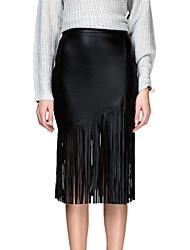 Women's Black PU Tassels Pencil Skirt