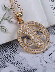 Alloy Jewelry Simple Generous Circle Gift Box Chain Pendant Necklace
