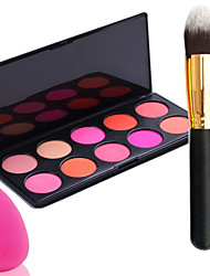 Pro Party 10 Colors Face Blush Blusher Powder Palette + Powder Brush+Power Puff