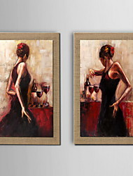 Oil Painting Decoration Abstract Character Hand Painted Canvas with Stretched Framed - Set of 2