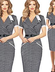 Luoluo Women's Bodycon Tailored Collar Short Sleeve Dresses (Cotton/Polyester)